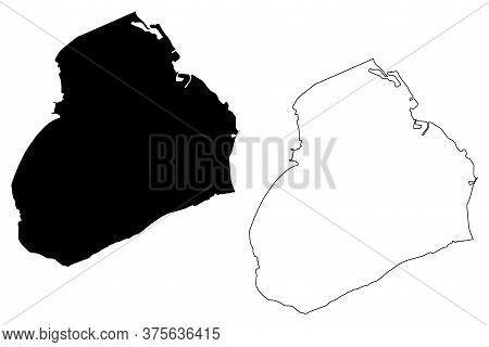 George Town City (british Overseas Territory, United Kingdom, Grand Cayman Island) Map Vector Illust