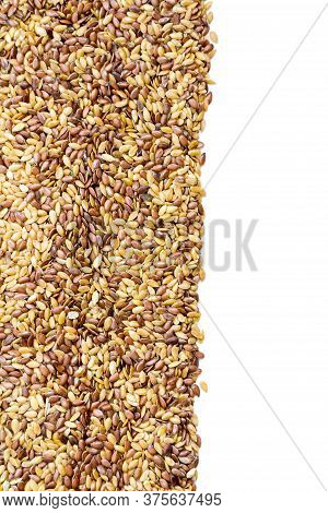 Close Up.  Mixed Seeds Gold And Brown Linseed, Flax Seed Pattern Frame