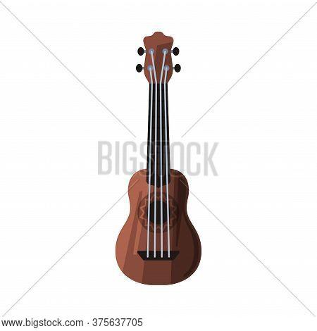 Ukulele Hawaiian String Musical Instrument Flat Style Vector Illustration On White Background