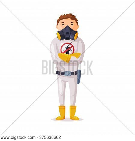 Exterminator Wearing Protection Uniform, Worker Of Pest Control Service Vector Illustration On White