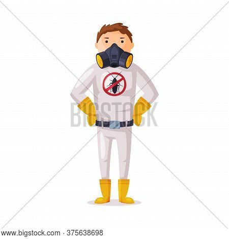 Exterminator Wearing Protection Uniform And Mask, Male Worker Of Pest Control Service Vector Illustr