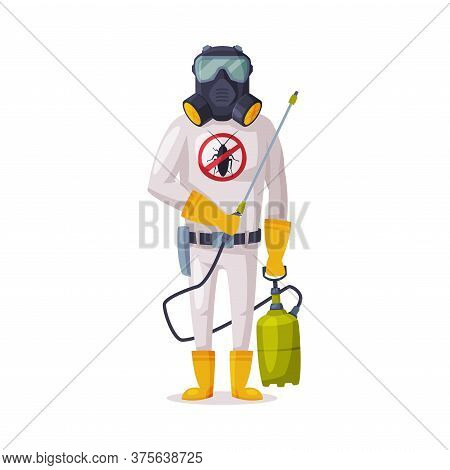 Exterminator Wearing Protection Uniform And Gas Mask With Pressure Sprayer, Male Worker Of Pest Cont