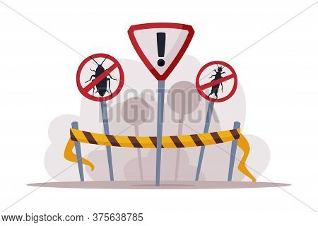 Warning Prohibition Signs, Pest Control And Extermination Service Vector Illustration Isolated On Wh