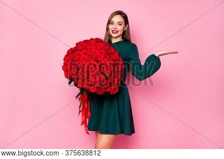 Photo Of Attractive Charming Lady Enjoy Large Red Roses Bouquet Hold Open Arm Novelty Surprise Sale