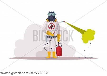Exterminator Wearing Protection Uniform And Gas Mask Using Pressure Sprayer, Pest Control Service Wo