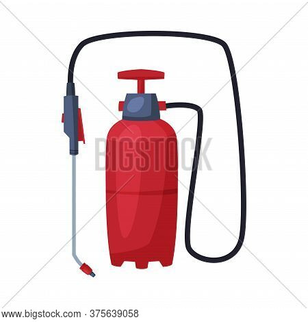 Red Pressure Sprayer Of Chemical Insecticide, Pest Control And Extermination Concept Vector Illustra