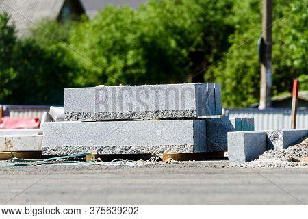 Concrete Blocks On A Construction Site. City Construction Site. Road Construction.