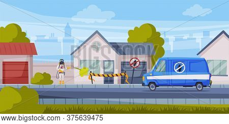 Disinfection Of Suburban House, Exterminator Wearing Protection Uniform And Gas Mask Spraying With I