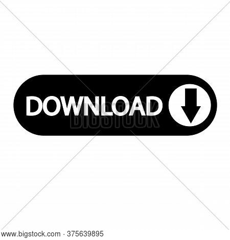Download Button Icon On White Background. Install Symbol. Download Sign. Flat Style.