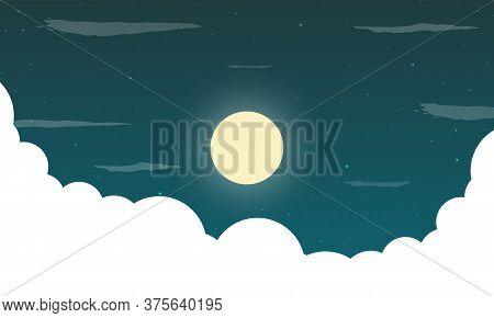 Landscape Of Starry Moonlit Sky With Clouds, Vector Art Illustration.