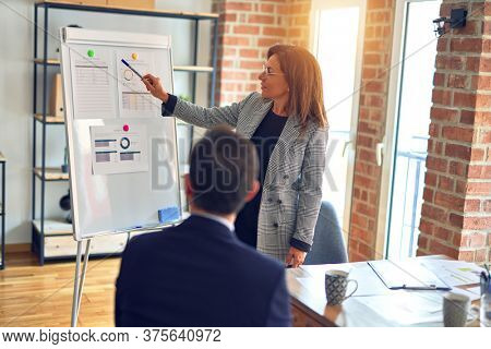 Two middle age business workers smiling happy and confidentt working together with smile on face. Woman standing doing work presentation using board and charts at the office
