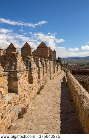 AVILA, SPAIN - April 25, 2019: Ancient fortification of Avila, from the top of the walls, Castile and Leon, Spain