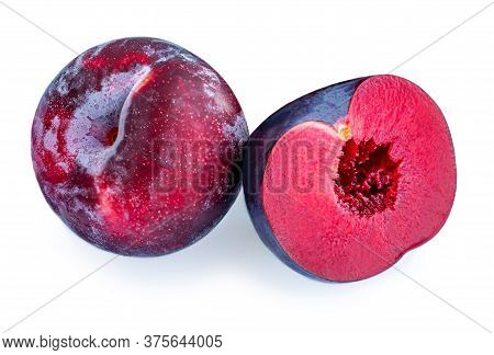 Plum Fruits Isolated On White Background. Fresh Plums Macro