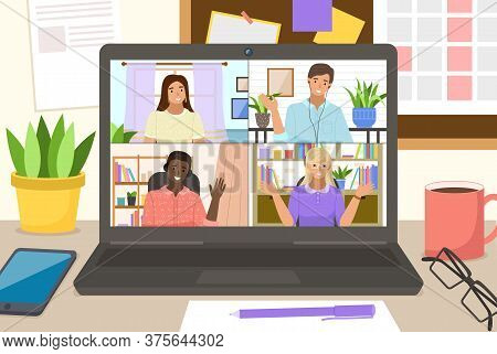 Video Conference On Laptop For Home Office. Online Friends Conference. Online Webinar. People Listen