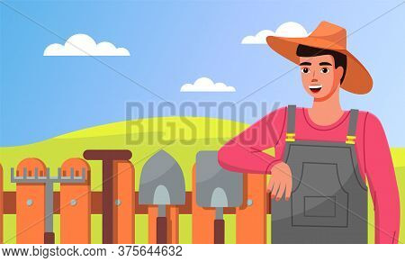 A Young Gardener In Hat Leans On Fence. Closeup Illustration Of Gardener With Garden Tools. Rakes, S