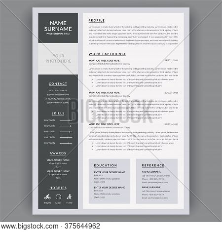 Resume Template. Personal Minimalist Infographic Work Experience Vector Design. Curriculum Vitae Tim