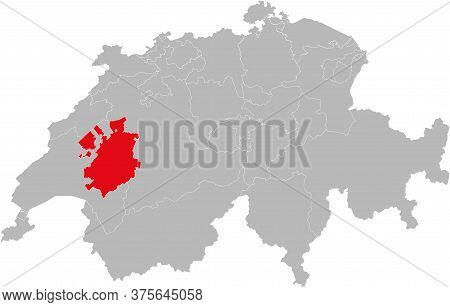 Fribourg Canton Isolated On Switzerland Map. Gray Background. Backgrounds And Wallpapers.