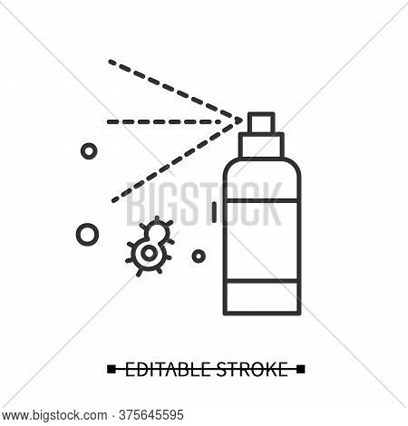 Antibacterial Spray Icon. Antiseptic Solution Bottle Linear Pictogram. Concept Of Hygiene, Corona Vi
