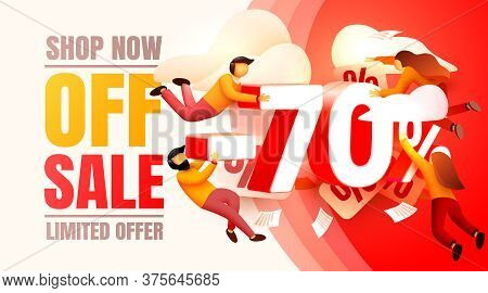 Shop Now Off Sale, 70 Interest Discount, Limited Offer. Vector