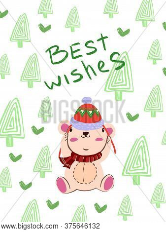 "Christmas Winter Vector Illustration In Scandinavian Style ""best Wishes"". Cute Poster With Bear In R"