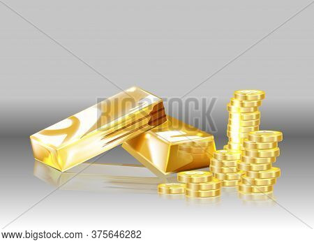 Gold Coins And Gold Bars On A Gray Background. Vector.
