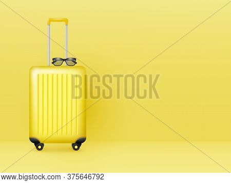 Suitcase With Sunglasses On Pastel Yellow Background. Summer Holidays, Vacation And Travel Minimal C
