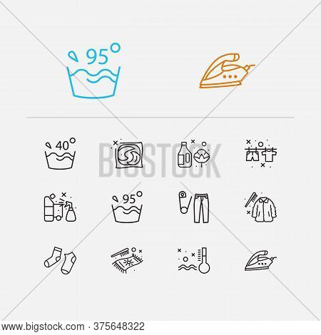 Laundry Icons Set. Label And Laundry Icons With Fur Cleaning, Information And Carpet Cleaning. Set O