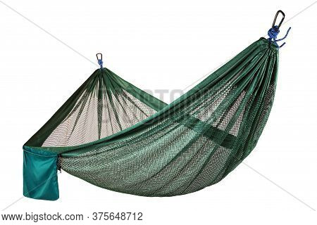 Sturdy Green Mesh Hammock Stretched On The Ropes, Compact And Lightweight, On A White Background