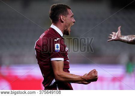 Torino (italy) , 08th July 2020. Italian Serie A. Andrea Belotti Of Torino Fc Celebrate During The S