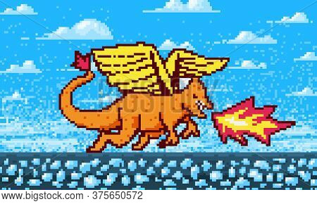Fire Dragon And Clouds. Game Concept. Pixel Art 8 Bit Objects. Retro Digital Game Assets. Fashion Ic