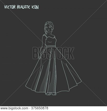 Prom Dress Icon Line Element. Vector Illustration Of Prom Dress Icon Line Isolated On Clean Backgrou