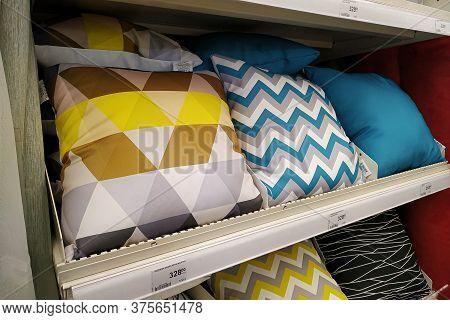 Moscow, Russia - August 17, 2019: Colorful Pillows On The Rack In A Building Materials Hypermarket