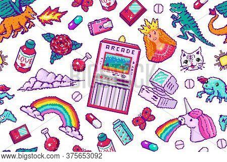 Pixel Art 8 Bit Objects Seamless Pattern. Retro Digital Game Assets. Set Of Pink Fashion Icons. Vint