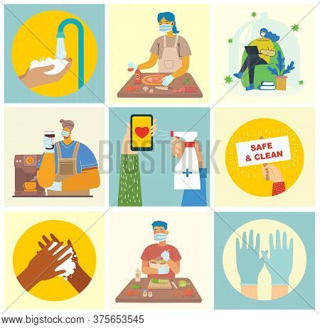Set Of Posters With Hands Washed Clean. Meal Protected From Virus. Healthcare Purpose Set Of Illustr