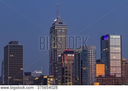 Indianapolis - Circa July 2020: Sunrise Over The Indy Downtown Skyline Including The Salesforce, Bmo