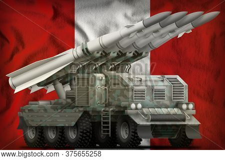 Tactical Short Range Ballistic Missile With Arctic Camouflage On The Peru Flag Background. 3d Illust