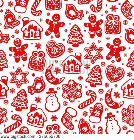 Christmas And New Year Seamless Pattern. Red Silhouette Of Traditional Christmas Gingerbread Cookies