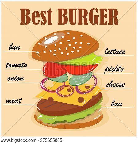 Best Tasty Hamburger Recipe. Juicy Burger Components In Weightlessness. Build The Perfect Burger. Ve
