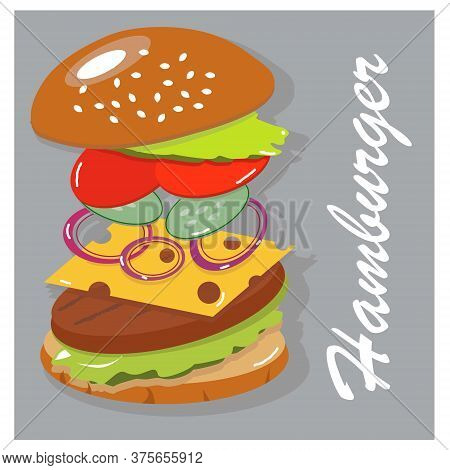 Cool Best Tasty Hamburger. Juicy Burger Components In Weightlessness. Build The Perfect Burger. Vect
