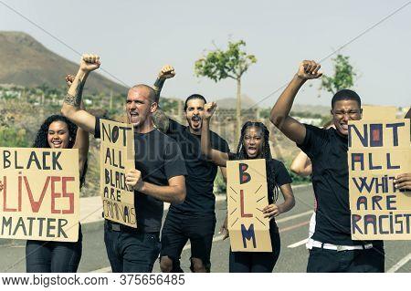 Group Of Different People Activist Is Protesting For Blacks Lives Matter. Black Lives Matter, Fight