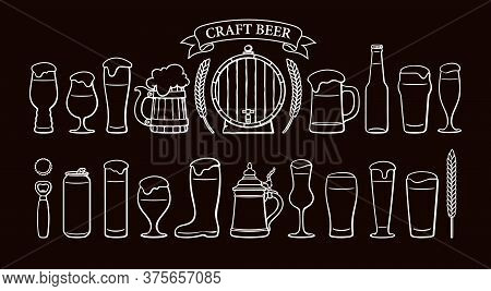 Beer Objects Set Isolated On Black Backgound. Beer Glasses, Mugs, Wooden Barrel, Wheat, Ribbon Banne