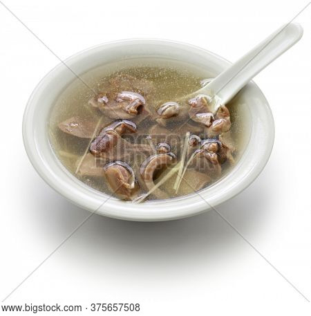 taiwanese chicken gizzard soup isolated on white background