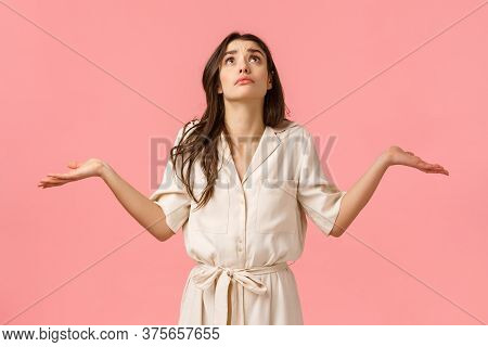 Girl Cant Understand What Faith Prepared. Confused And Indecisive Glamour Young Brunette Girl In Dre