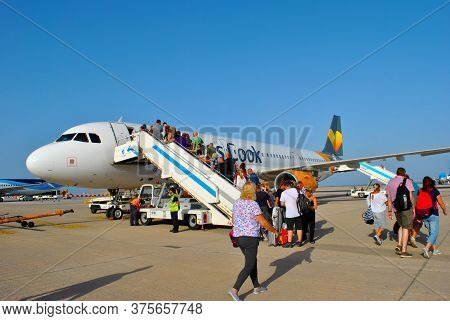 Fuerteventura, Canary Islands, Spain - September 22, 2018 : Passengers Embarking Form A Thomas Cook
