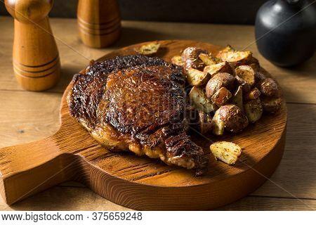 Grass Fed Ribeye Steak And Potatoes