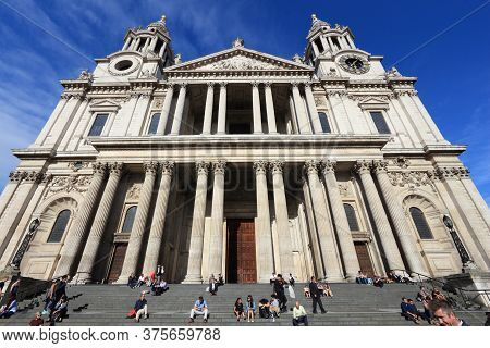 London, Uk - July 8, 2016: People Visit Saint Paul's Cathedral In London Uk. London Is The Most Popu