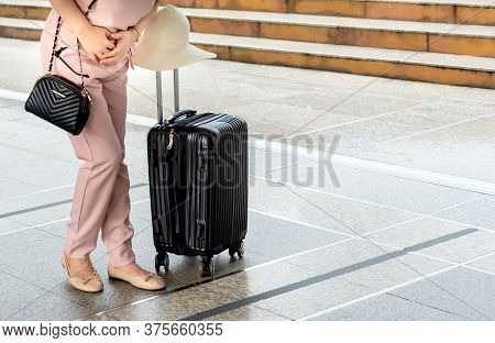 Woman Is Having A Stomachache Due To Gastritis Disease During Travel, To Summer And Health Care Conc