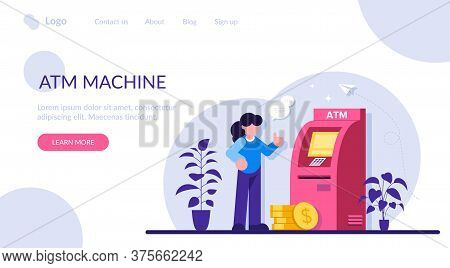 Atm Machine Concept. Man Perform Financial Transactions Using Atm. People Are Waiting Near Atm Machi