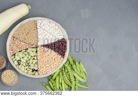 Vegetarian Source Of Protein. Beans, Lentils, Peas, Chickpeas, Legumes. Top View On Gray Background