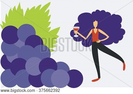 Illustration Of Woman Drinking Wine Close To A Bunch Of Grapes